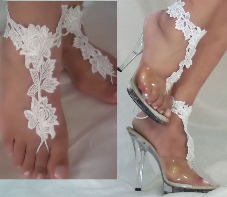 dbbfd3b70bc Beautiful White or Ivory Lace Barefoot Sandals Bride Beach