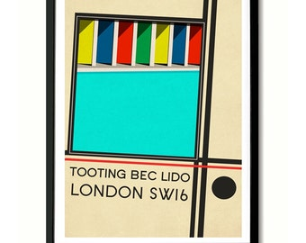 Tooting Bec Lido, South London Art Print