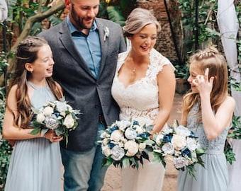 Slate / Steel Blue and Navy Blue Cottage Rose Sola Flower Bridal Cluster Cascade Bouquet ~ Sola Flower Bouquet, Dusty Blue