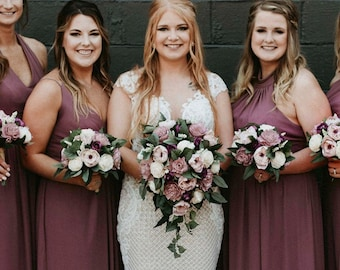 Two Tone Vintage Mauve Sola Flower Bridal Bouquet ~ Colors: Two Tone Vintage Mauve with Plum Accents and Realistic Artificial Greenery