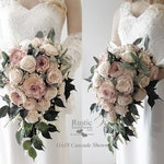 Cottage Rose Sola Flower Bridal Cluster Cascade Bouquet ~ Colors: Cameo / Light Dusty Rose & Ivory ~ Sola Flower Bouquet, Sola Wood Bouquet