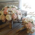 Rustic Blush Pink Wedding Bouquet, Sola Flowers, Burlap, Lace ~ Made to Order