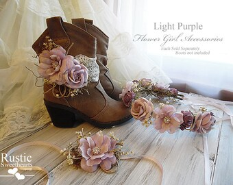 Light Purple ~ Flower Girl Wedding Accessories ~ Boot Band ~ Flower Crown ~ Wrist Corsage~ Item ID: LP
