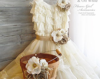 Burlap & Off White ~ Flower Girl Wedding Accessories ~ Pin on Corsage ~ Sash ~ Basket~ Item ID: BW