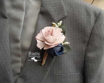 Dusty Rose and Navy Blue Sola Flower Cottage Rose Boutonniere ~ Groom ~ Groomsmen ~ Best Man ~ Dads