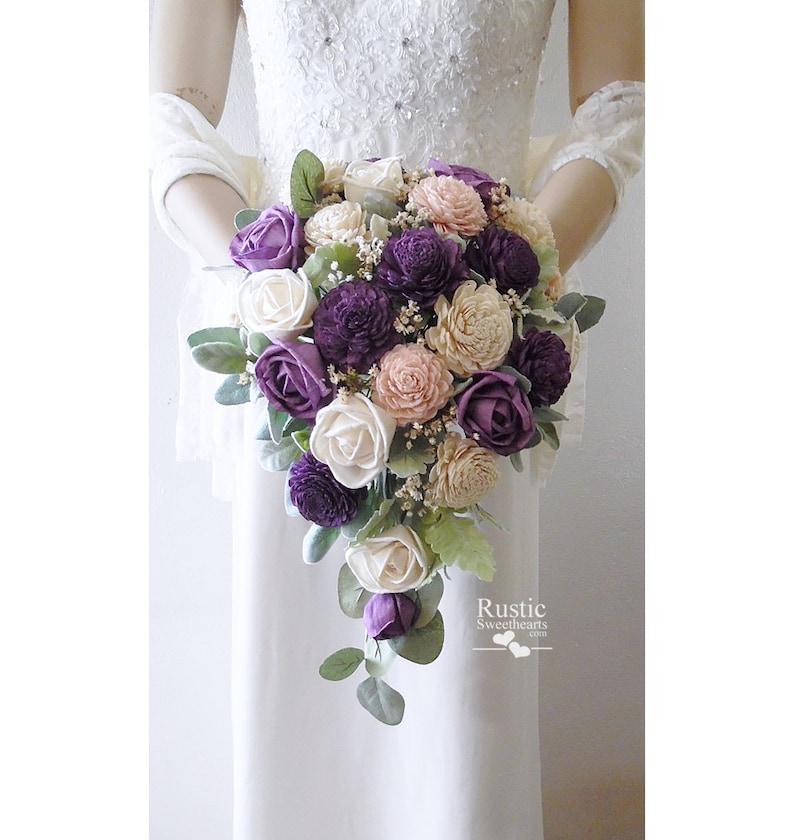 Sola Flower Bridal Cascade Bouquet  Wisteria  Sola Flower image 0