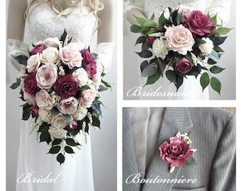 Burgundy Wine & Blush Cottage Rose Sola Flower Bouquet