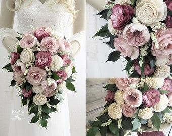 Ballet, Light Wine & Ivory Cottage Rose Sola Flower Bridal Cluster Cascade Bouquet ~ Sola Flower Bouquet, Sola Wood Bouquet