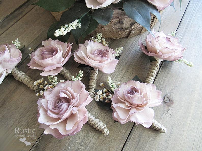 Quartz Sola Flower Boutonniere  Matches the Quartz Cottage image 0