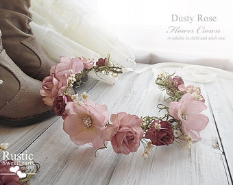 Dusty Rose Flower Crown ~ Bridal Flower Crown ~ Bride, Bridesmaid, Flowergirl ~ Available in Child and Adult Size~ Item ID: DRFC