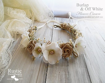 Burlap & Off White Flower Crown ~ Bridal Flower Crown ~ Bridal Halo ~ Bride, Bridesmaid, Flowergirl ~ Child and Adult Size~ Item ID: BWFC