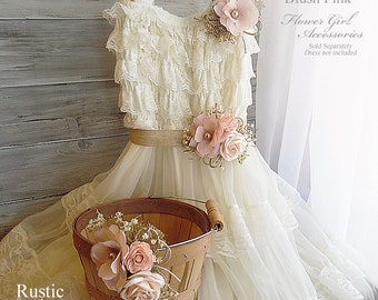 Blush Pink ~ Flower Girl Wedding Accessories ~ Pin on Corsage ~ Sash ~ Basket~ Item ID: BP