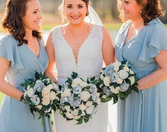 Ice Blue & Ivory Cottage Rose Sola Flower Bridal Cluster Round and Cascade Bouquets ~ Sola Flower Bouquet, Sola Wood Bouquet