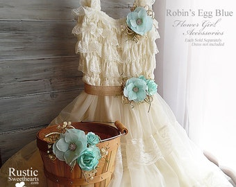 Robin's Egg Blue ~ Flower Girl Wedding Accessories ~ Pin on Corsage ~ Sash ~ Basket~ Item ID: RE
