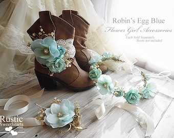 Robin's Egg Blue ~ Flower Girl Accessories ~ Boot Band ~ Flower Crown ~ Wrist Corsage~ Item ID: RE