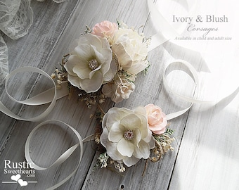 Ivory & Blush ~ Wedding Bridal Corsage. Available in child and adult size~ Item ID: IB-C