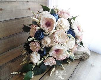 Dusty Rose and Navy Blue Cottage Rose Sola Flower Bridal Cluster Cascade Bouquet ~ Sola Flower Bouquet, Sola Wood BouquetBlue