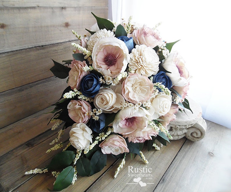 Dusty Rose and Navy Blue Cottage Rose Sola Flower Bridal image 0