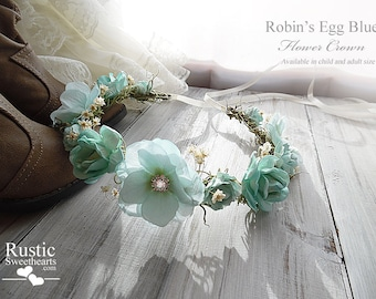 Robin's Egg Blue Flower Crown ~ Bridal Flower Crown ~ Bride, Bridesmaid, Flowergirl ~ Available in Child and Adult Size~ Item ID: REFC