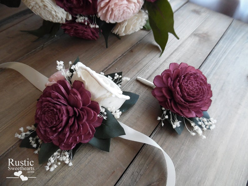 Bridal Corsage / Boutonniere  Burgundy Sola and Silk Bridal image 0