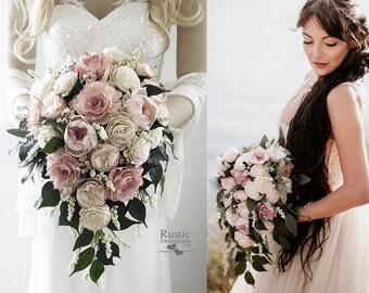 Light Dusty Rose & Ivory Cottage Rose Sola Flower Bridal Cluster Cascade Bouquet ~ Sola Flower Bouquet, Sola Wood Bouquet
