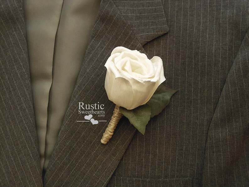 White Sola Rose Boutonniere with ivy leaves and jute wrapped image 0