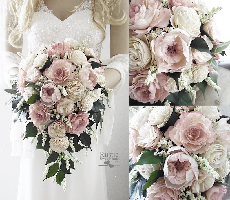 "Light Dusty Rose & Ivory Cottage Rose Sola Flower Bridal 11"" x 18"" Cascade"