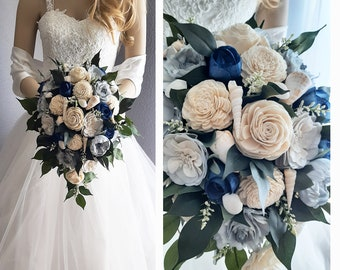 Seashell & Sola Flower Bouquet, Slate / Steele Blue, Navy and Natural Sola Flowers with Seashells, Bridal Cascade, Rounds and Toss