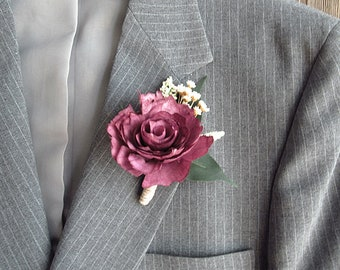 Burgundy Wine Sola Rose Flower Boutonniere with jute wrapped stem. Groom, Groomsmen, Best Man, Father of the Groom, Father of the Bride