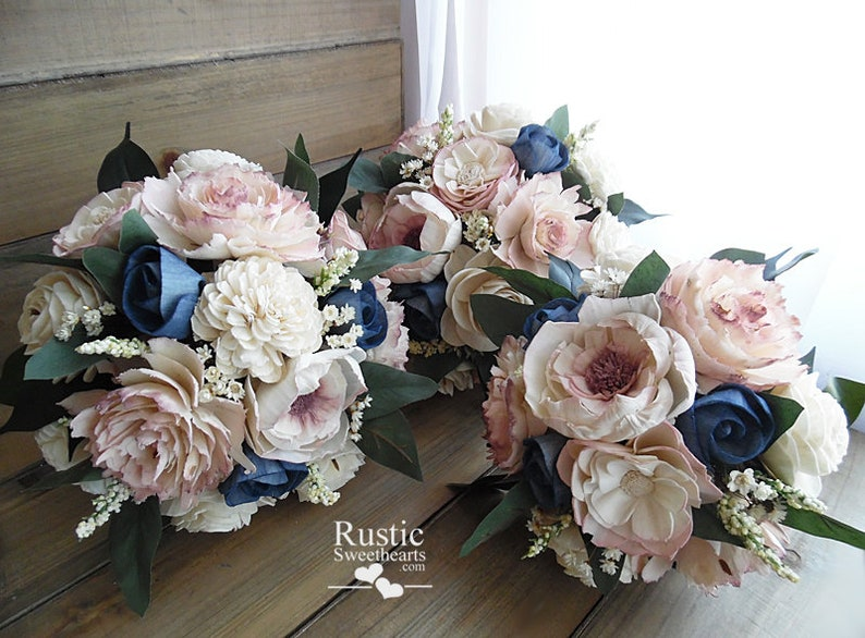 Dusty Rose and Navy Blue Cottage Rose Sola Flower Bridesmaid image 0
