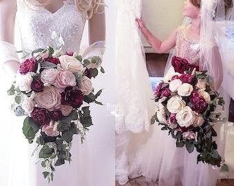 Burgundy Wine Sola Flower Bridal Cluster Cascade Bouquet ~ Colors: Burgundy Wine / Light Dusty Rose & Ivory
