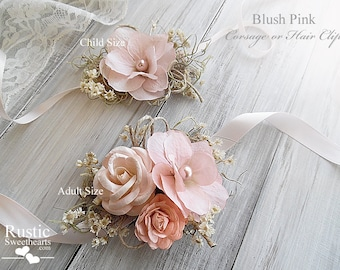 Blush Pink ~ Wedding Bridal Corsage. Available in child and adult size~ Item ID: BP-C