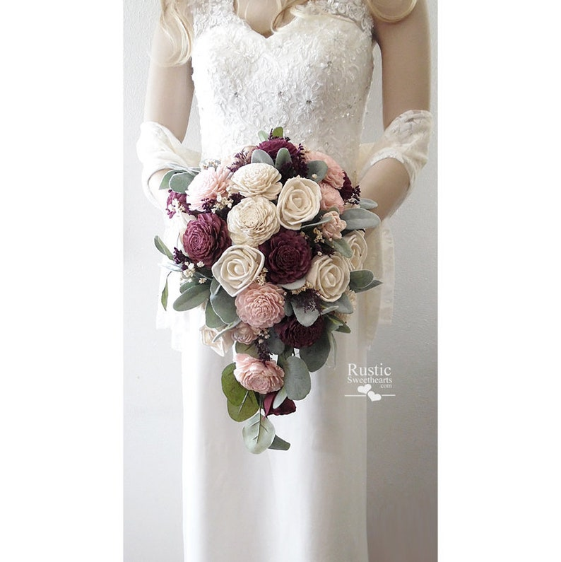 Sola Flower Bridal Cascade Bouquet  Wine  Sola Flower image 0