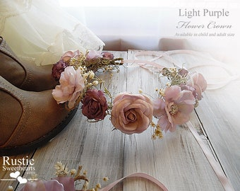 Light Purple Flower Crown ~ Bridal Flower Crown ~ Bride, Bridesmaid, Flowergirl ~ Available in Child and Adult Size~ Item ID: LPFC