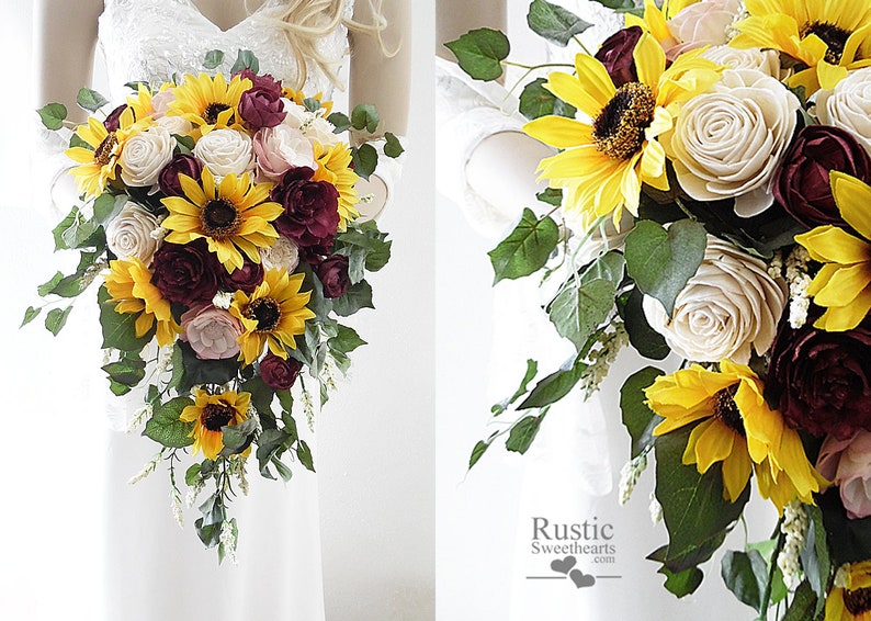 Sunflower & Burgundy Wine Sola Flower Bridal Cluster Cascade image 0