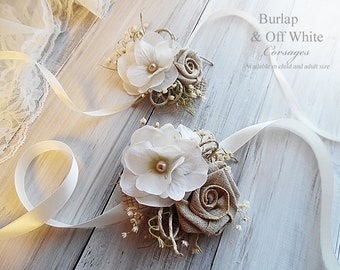 Burlap & Off White ~ Wedding Bridal Wrist Corsage. Child or Adult Size~ Item ID: BWC