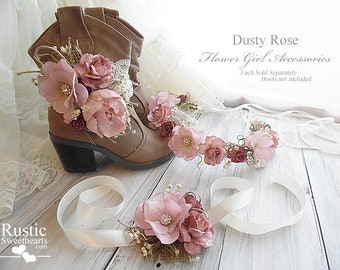 Dusty Rose Peony Sola Flower~ Flower Girl Wedding Accessories ~ Boot Band ~ Flower Crown ~ Wrist Corsage~ Item ID: DR