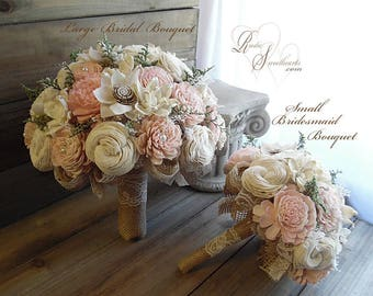 Rustic Blush Pink Wedding Bouquet, Sola Flowers, Burlap, Lace~ Item ID: CCC-BQ