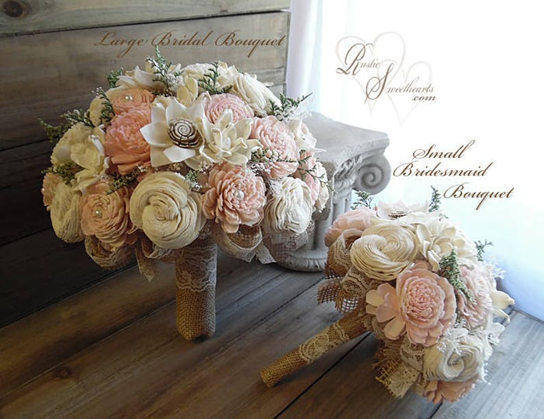 Rustic Blush Pink Wedding Bouquet Sola Flowers Burlap Lace image 0