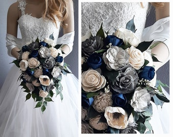 Sola Flower Bouquet, Gray, Navy and Natural Sola Flowers, Bridal Cascade, Rounds and Toss