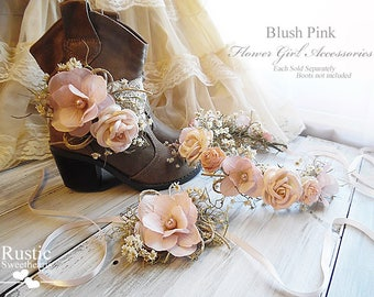 Blush Pink ~ Flower Girl Wedding Accessories ~ Boot Band ~ Flower Crown ~ Wrist Corsage~ Item ID: BP