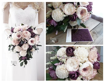 Light Dusty Rose with Plum and hints of Lilac ~ Cottage Rose Sola Flower Bridal Cluster Cascade Bouquet ~ Sola Flower Bouquet, Sola Wood