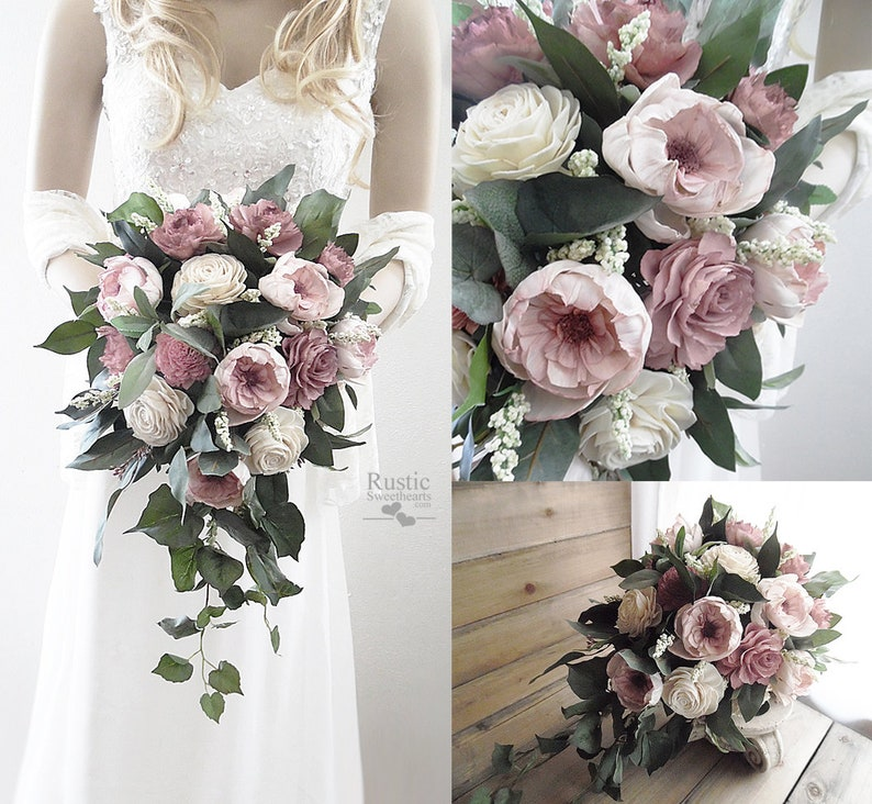 Two Tone Dusty Rose Sola Flower Bridal Cascade Bouquet  image 0