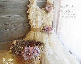 Light Purple ~ Flower Girl Wedding Accessories ~ Pin on Corsage ~ Sash ~ Basket~ Item ID: LP