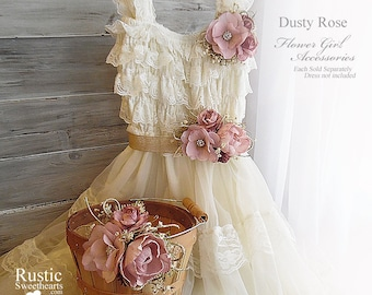 Dusty Rose Peony Sola Flower ~ Flower Girl Wedding Accessories ~ Pin on Corsage ~ Sash ~ Basket~ Item ID: DR