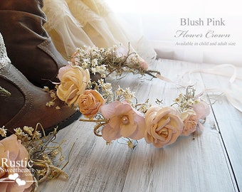 Blush Pink Flower Crown ~ Bridal Flower Crown ~ Bride, Bridesmaid, Flower Girl ~ Available in Child and Adult Size~ Item ID: BPFC