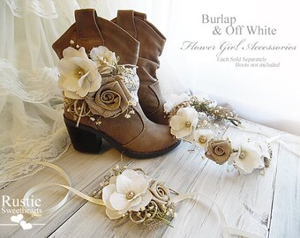 Burlap & Off White ~ Flower Girl Wedding Accessories ~ Boot Band ~ Flower Crown ~ Wrist Corsage~ Item ID: BW