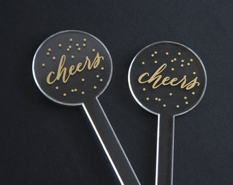 Cheers with Confetti clear acrylic stir sticks