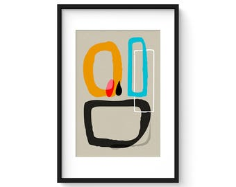 ASSEMBLAGE no.11 - Giclee Print - Mid Century Modern Danish Modern Abstract Shapes Eames Style