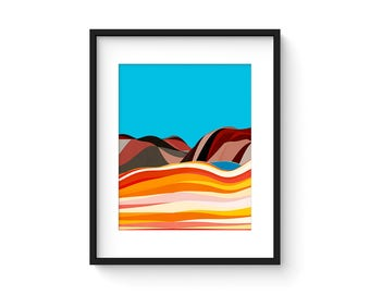FOOTHILLS no.72 - Mid Century Style Modernist Abstract Landscape Print